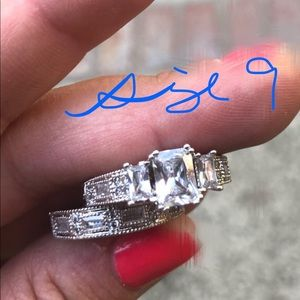 White Sapphire Wedding Ring Set